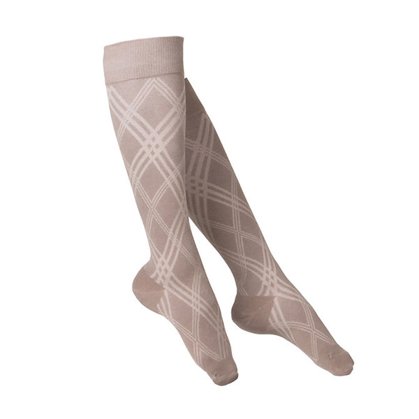 Touch Compression Women's Argyle Pattern Socks - 15-20 mmHg - Tan