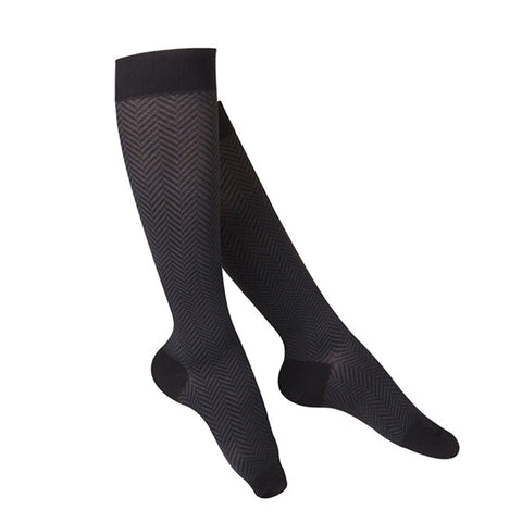 Touch Compression Women's Herringbone Pattern Socks - 15-20 mmHg - Black