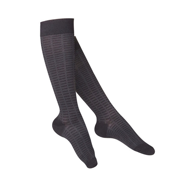 Touch Compression Women's Fine Checkered Pattern Socks - 15-20 mmHg - Black