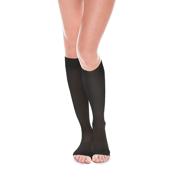Therafirm EASE Sheer Open Toe Knee Highs- 30-40 mmHg - Black