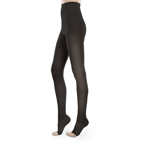 Therafirm EASE Sheer Open Toe Pantyhose - 30-40 mmHg - Black