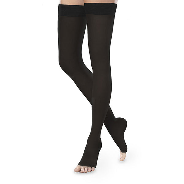 Therafirm EASE Sheer Open Toe Thigh Highs w/Silicone Band - 15-20 mmHg - Black