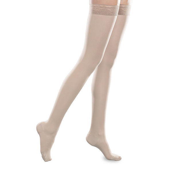 Therafirm EASE Sheer Closed Toe Thigh Highs w/Silicone Band - 15-20 mmHg - Natural