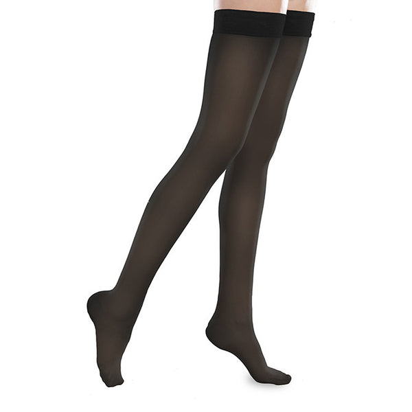 Therafirm EASE Sheer Closed Toe Thigh Highs w/Silicone Band - 20-30 mmHg - Black