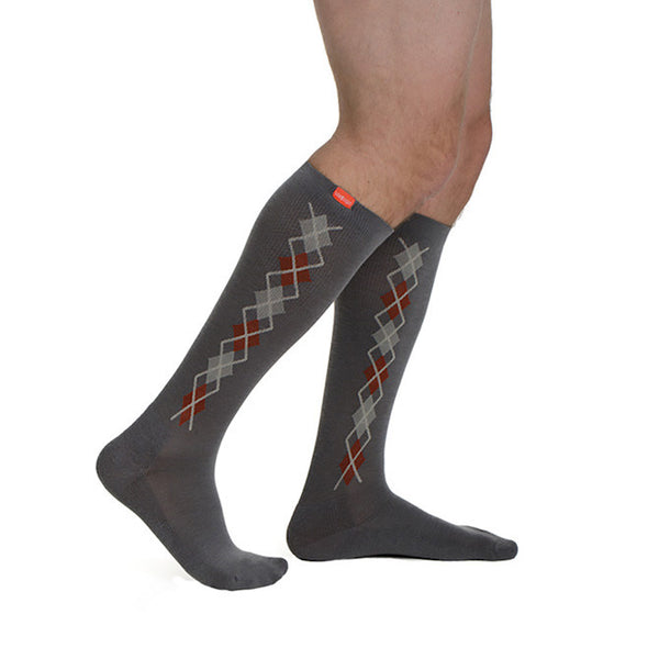 Vim & Vigr Men's Wool Pattern Knee High Socks - 15-20mmHg