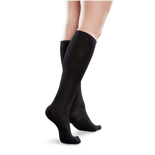 Therafirm EASE Microfiber Closed Toe Knee Highs - 15-20 mmHg - Black
