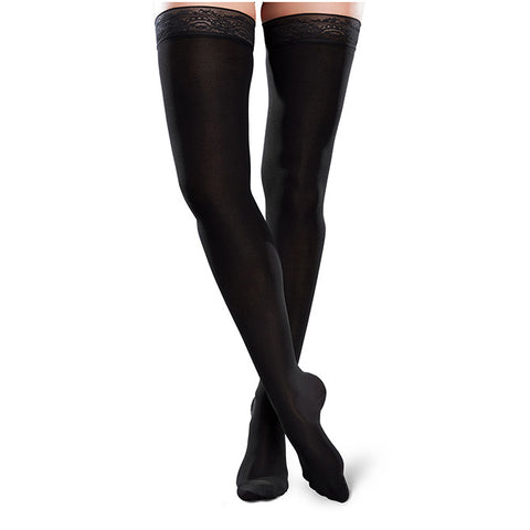 Therafirm EASE Microfiber Closed Toe Thigh Highs w/Silicone Band - 20-30 mmHg - Black