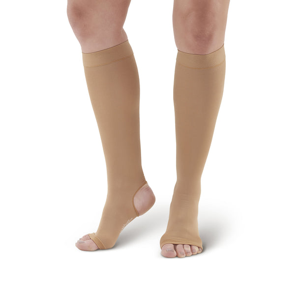 AW Style 505 Microfiber Opaque Open Toe/Open Heel Knee Highs - 15-20 mmHg