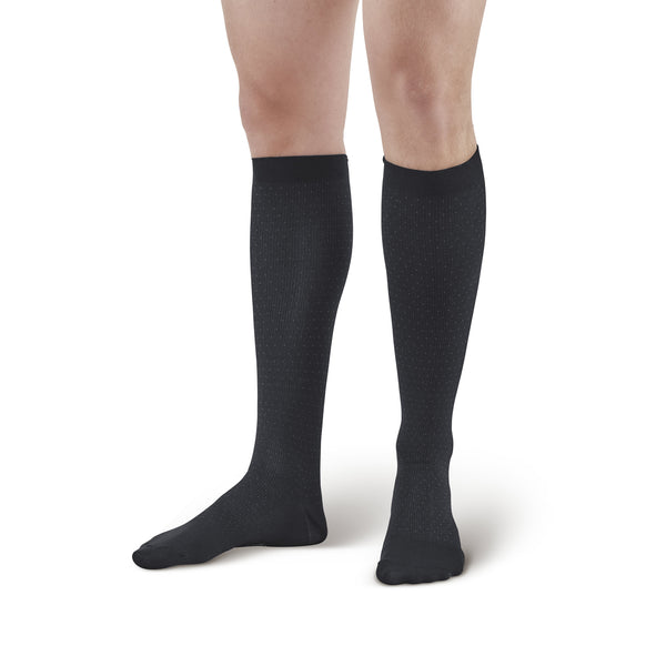 AW Style 625 Men's Pin-Dot Pattern Microfiber Knee High Dress Socks - 15-20 mmHg - Black