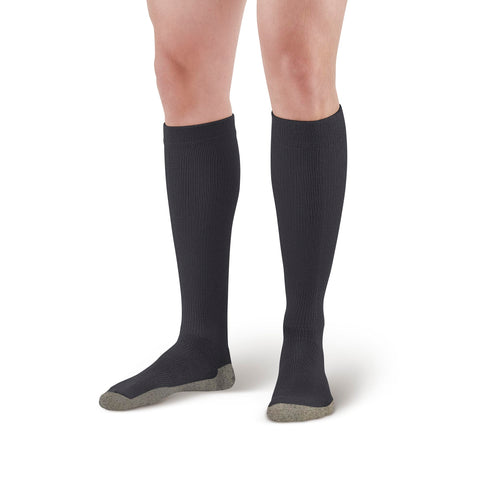 AW Style 630C Sports Performance Copper Sole Knee High Socks - 15-20 mmHg Black