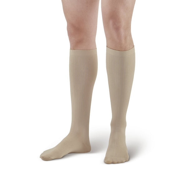 AW Style 638 Men's Microfiber Knee High Socks - 8-15 mmHg - Tan
