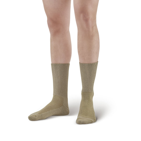 AW Style 736 Cotton Diabetic Crew Socks  - Two Pack - Tan