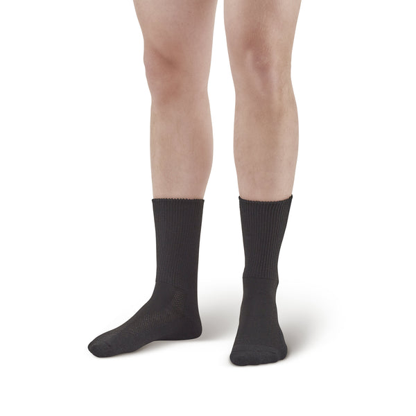 AW Style 737 Polyester Diabetic Crew Socks - Two Pack - Black
