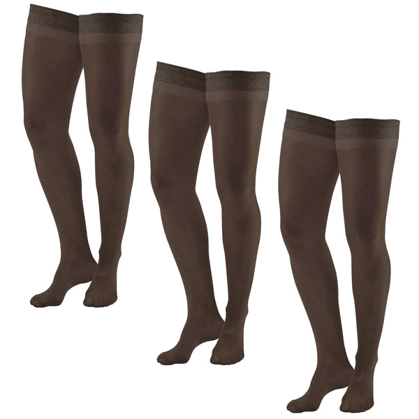 AW Style 74 Soft Sheer Thigh Highs w/Band - 8-15 mmHg (3 Pack)