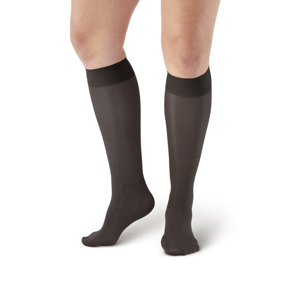 AW Style 76 Soft Sheer Knee Highs - 8-15 mmHg - Black