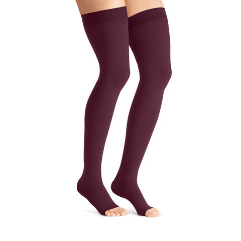 Jobst Opaque Open Toe Maternity Thigh Highs w/Top Band - 15-20 mmHg Cranberry