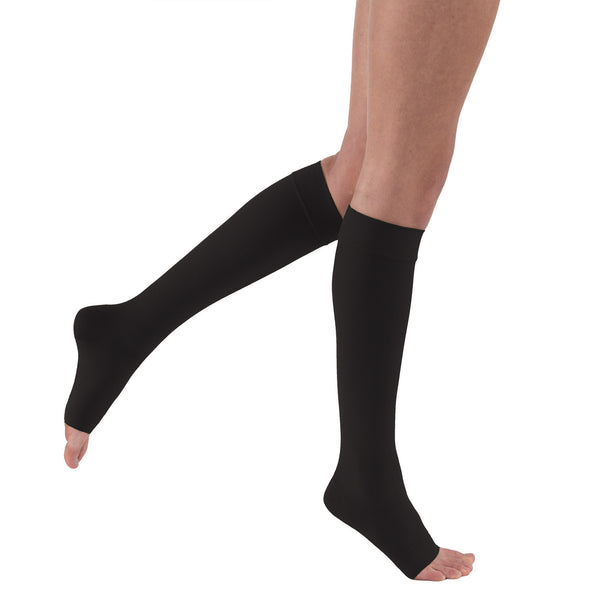 Jobst Relief Open Toe Knee Highs w/ Silicone Band - 20-30 mmHg Black