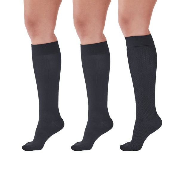 AW Women's Microfiber Trouser Socks - 15-20 mmHg (Variety Pack) - Black/Black/Black Diamond