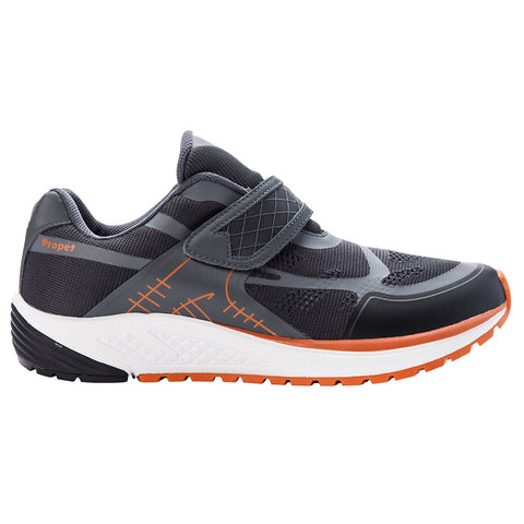 Propet Men's Propet One Strap Shoes Dark Grey/Burnt Orange
