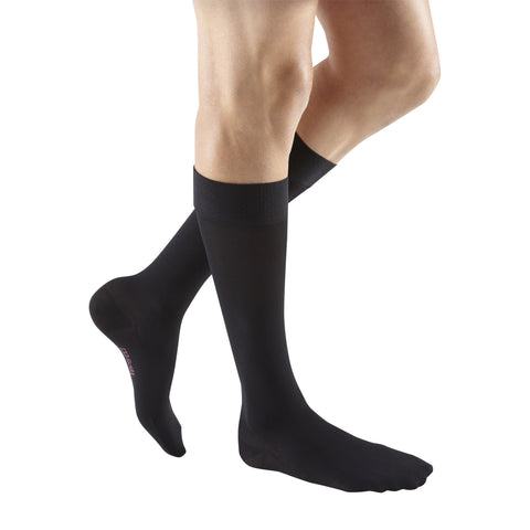 Medi Plus Closed Toe Knee Highs w/Silicone Dot Band - 20-30 mmHg - Black