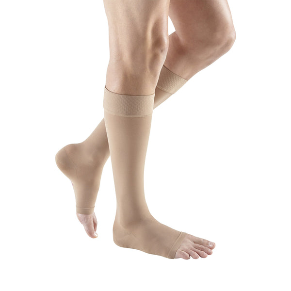 Medi Plus Open Toe Knee Highs w/ Silicone Dot Band - 30-40 mmHg - Beige