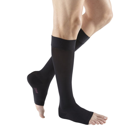 Medi Plus Open Toe Knee Highs w/Silicone Dot Band - 20-30 mmHg - Black