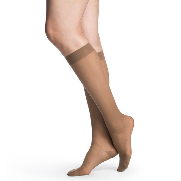 Sigvaris 782 EverSheer Closed Toe Knee Highs - 20-30 mmHg - Cafe