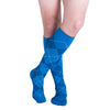 Sigvaris 832 Microfiber Shades Men's Closed Toe Knee High Socks - 20-30 mmHg - Royal Blue Argyle