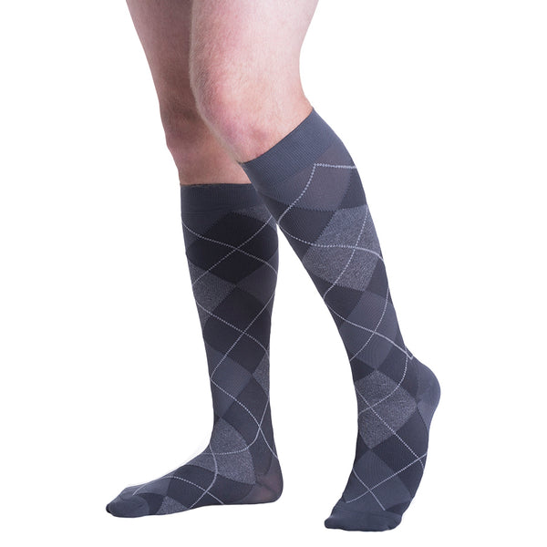 Sigvaris 832 Microfiber Shades Men's Closed Toe Knee High Socks - 20-30 mmHg - Graphite Argyle