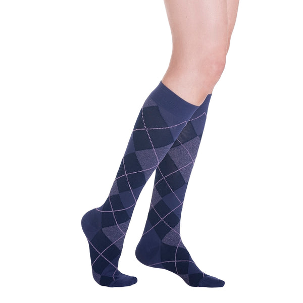 Sigvaris 832 Microfiber Shades for Women Closed Toe Knee High Socks - 20-30 mmHg - Purple Argyle