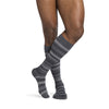 Sigvaris 832 Microfiber Shades Men's Closed Toe Knee High Socks - 20-30 mmHg - Mini Stripe Graphite