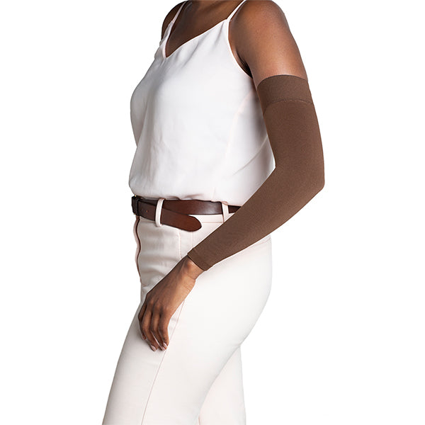 Sigvaris Secure 562 Lymphedema Armsleeve w/Dot Top Band - 20-30 mmHg Cocoa