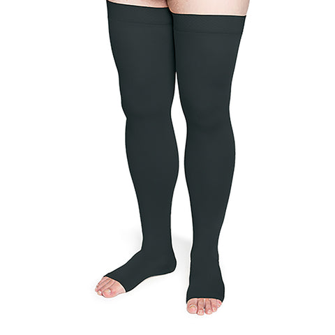 Sigvaris Secure 552 Unisex Open Toe Thigh Highs w/Silicone Band - 20-30 mmHg