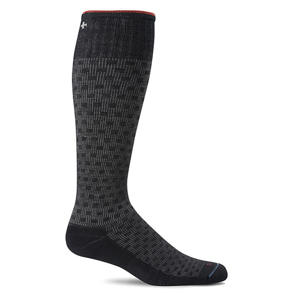 SockWell Men's Shadow Box Knee High Socks - 15-20 mmHg Black