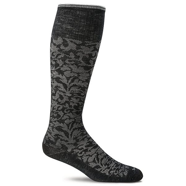 SockWell Women's Damask Knee High Socks  - 15-20 mmHg Black