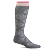 SockWell Women's Full Floral Knee High  Socks - 15-20 mmHg Charcoal