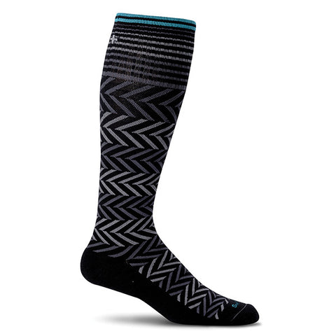 SockWell Women's Chevron Knee High Socks - 15-20 mmHg Black