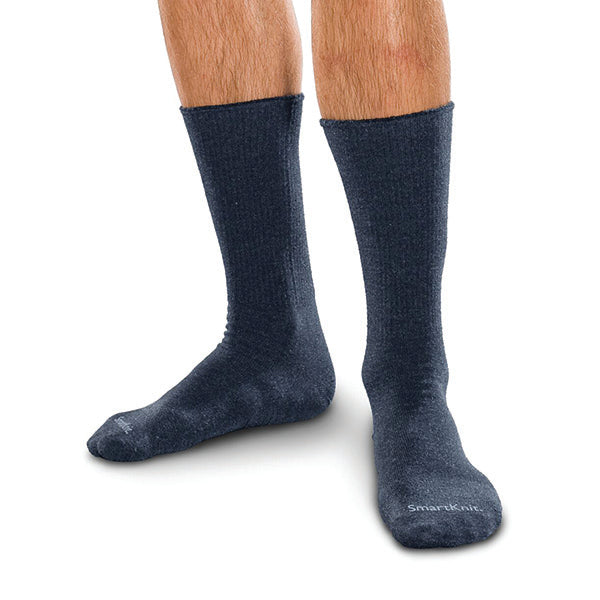 SmartKnit Seamless Diabetic Crew Socks w/X-Static Silver Fibers Navy