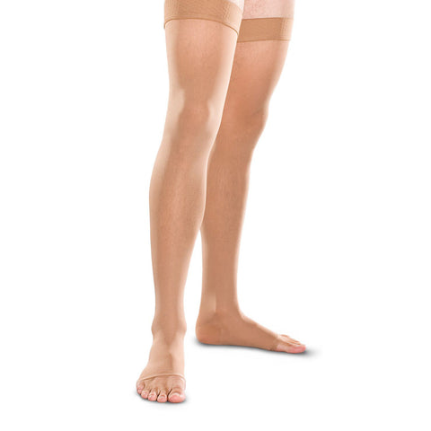 Therafirm Men's and Women's Open Toe Thigh Highs w/Grip Top - 20-30 mmHg - Sand