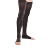 Therafirm Men's and Women's Open Toe Thigh Highs w/Grip Top - 30-40 mmHg - Black