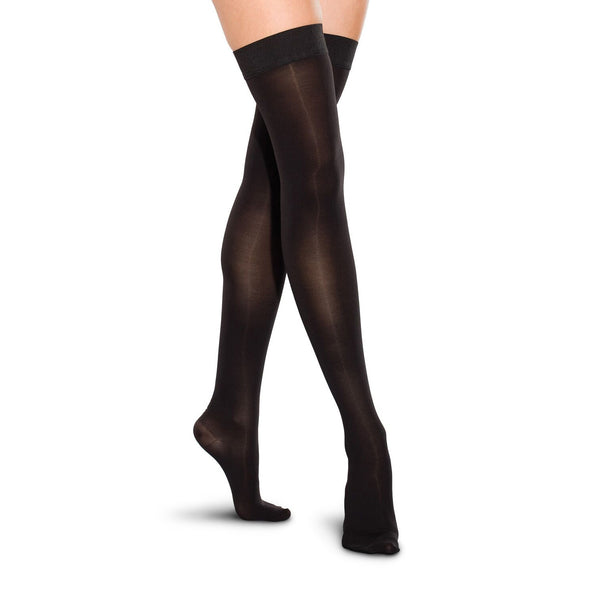 Therafirm Men's and Women's Closed Toe Thigh Highs w/ Grip Top - 20-30 mmHg - Black