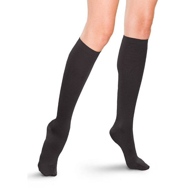 Therafirm Women's Knee High Dress Socks- 10-15 mmHg - Black