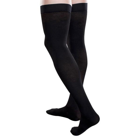 Therafirm Core-Spun Thigh High Socks w/Silicone Band - 30-40 mmHg Black