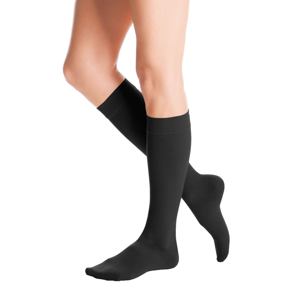 Medi Duomed Advantage Soft Opaque Closed Toe Knee Highs - 30-40 mmHg - Black