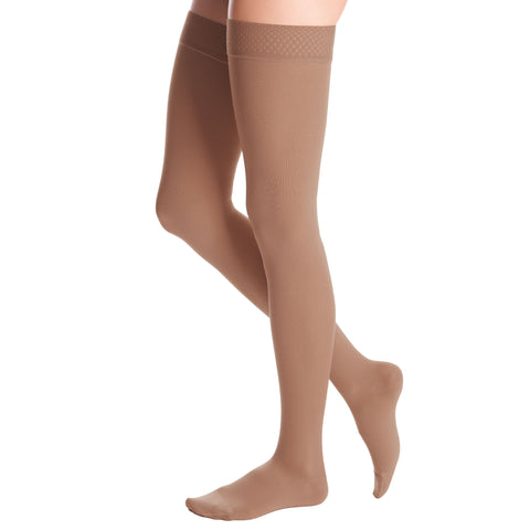 Medi Duomed Advantage Soft Opaque Closed Toe Thigh Highs w/Beaded Band - 20-30 mmHg - Almond