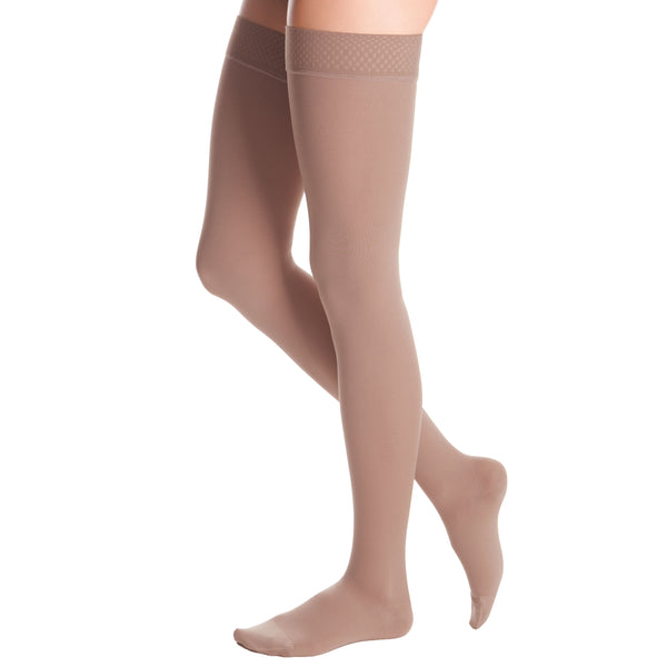 Medi Duomed Advantage Soft Opaque Closed Toe Thigh Highs w/Beaded Band - 15-20 mmHg - Beige