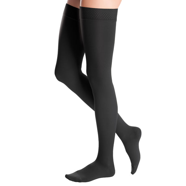 Medi Duomed Advantage Soft Opaque Closed Toe Thigh Highs w/Beaded Band - 30-40 mmHg - Black