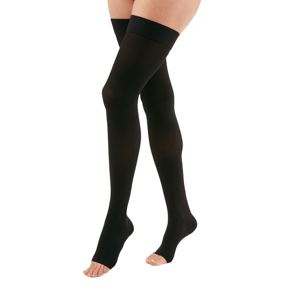 Medi Duomed Advantage Soft Opaque Open Toe Thigh Highs w/Beaded Band - 15-20 mmHg - Black