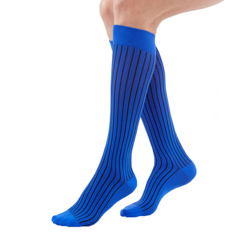 Medi Duomed Freedom Patterned Closed Toe Knee High Socks - 20-30 mmHg - Blue