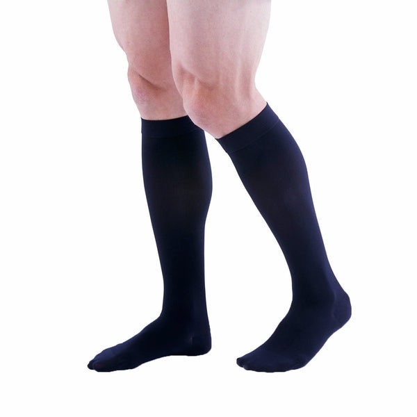 Medi Duomed Patriot Men's Ribbed Closed Toe Knee High Socks - 20-30 mmHg - Black